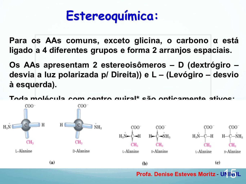 Estereoquímica: Para os AAs comuns, exceto glicina, o carbono α está ligado a 4 diferentes grupos e forma 2 arranjos espaciais.