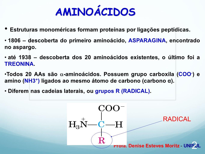 AMINOÁCIDOS Estruturas monoméricas formam proteínas por ligações peptídicas.
