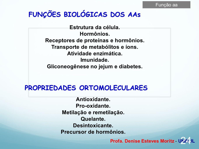 FUNÇÕES BIOLÓGICAS DOS AAs PROPRIEDADES ORTOMOLECULARES