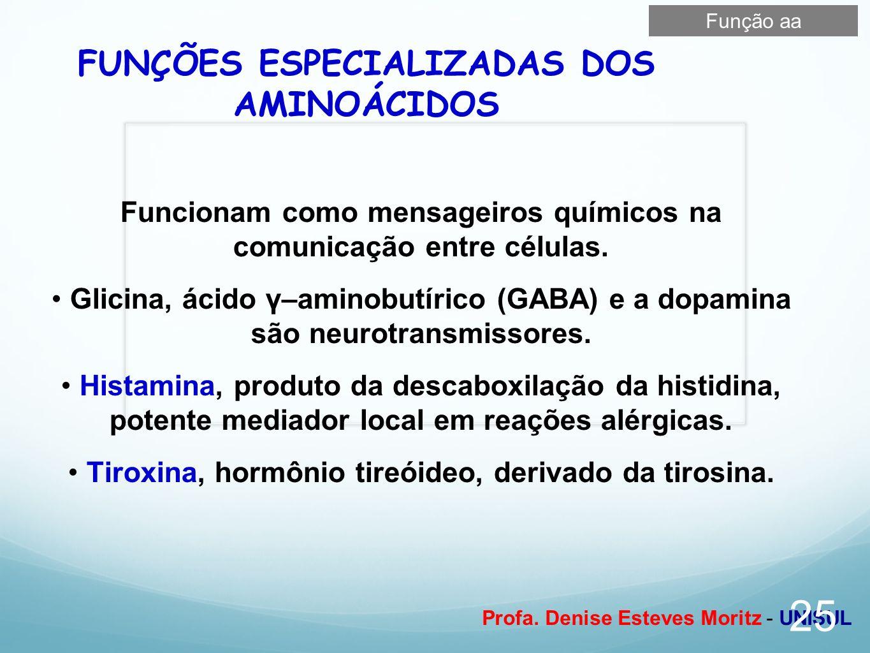 FUNÇÕES ESPECIALIZADAS DOS AMINOÁCIDOS