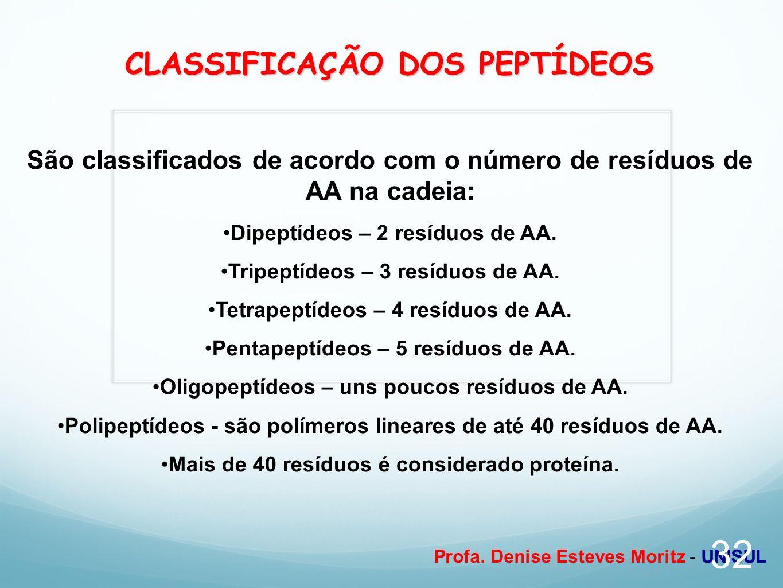 CLASSIFICAÇÃO DOS PEPTÍDEOS