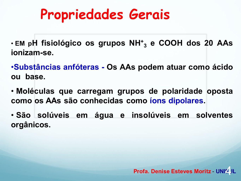 Propriedades Gerais EM pH fisiológico os grupos NH+3 e COOH dos 20 AAs ionizam-se. Substâncias anfóteras - Os AAs podem atuar como ácido ou base.