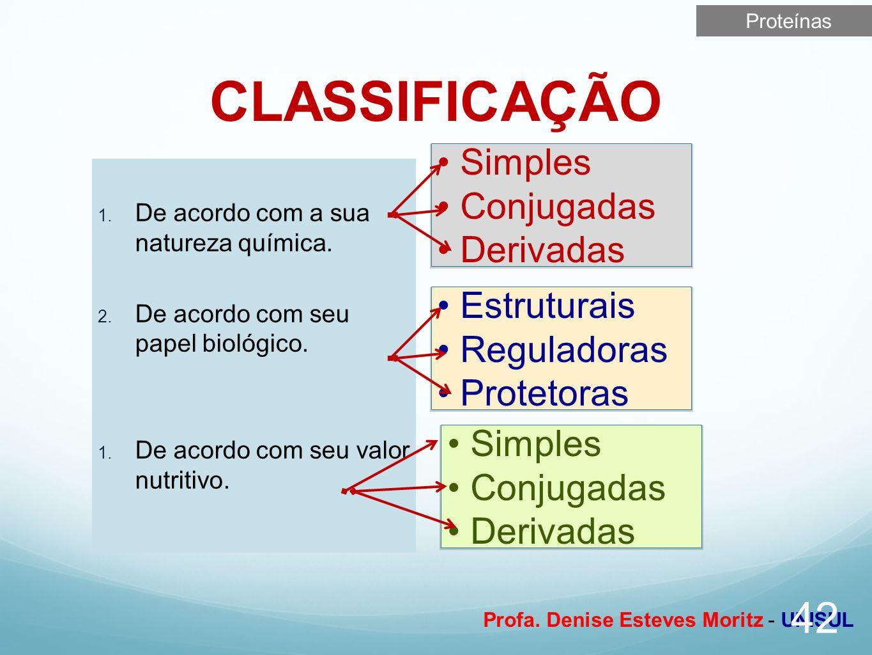 CLASSIFICAÇÃO Simples Conjugadas Derivadas Estruturais Reguladoras