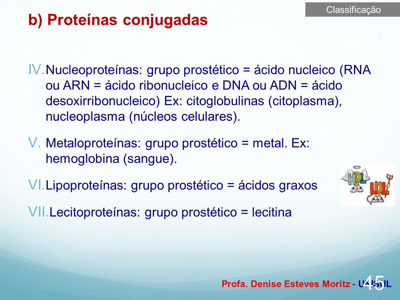 b) Proteínas conjugadas