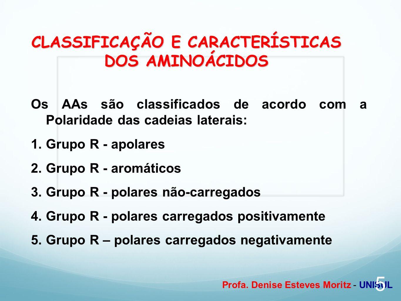 CLASSIFICAÇÃO E CARACTERÍSTICAS DOS AMINOÁCIDOS
