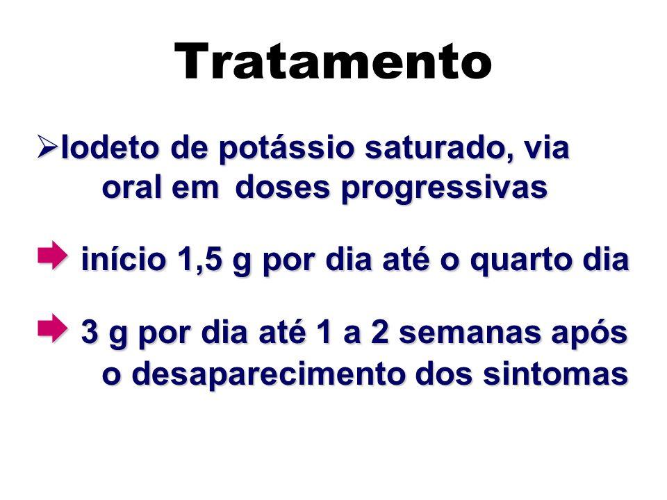 Tratamento  início 1,5 g por dia até o quarto dia