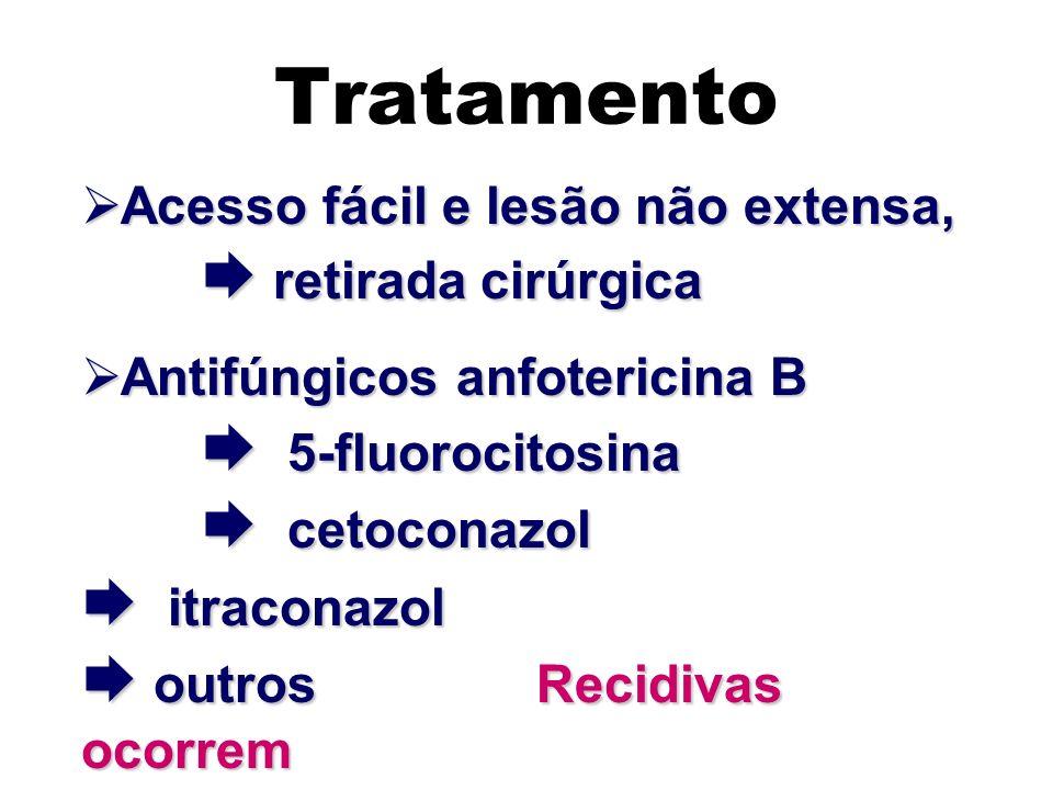 Tratamento Acesso fácil e lesão não extensa,  retirada cirúrgica