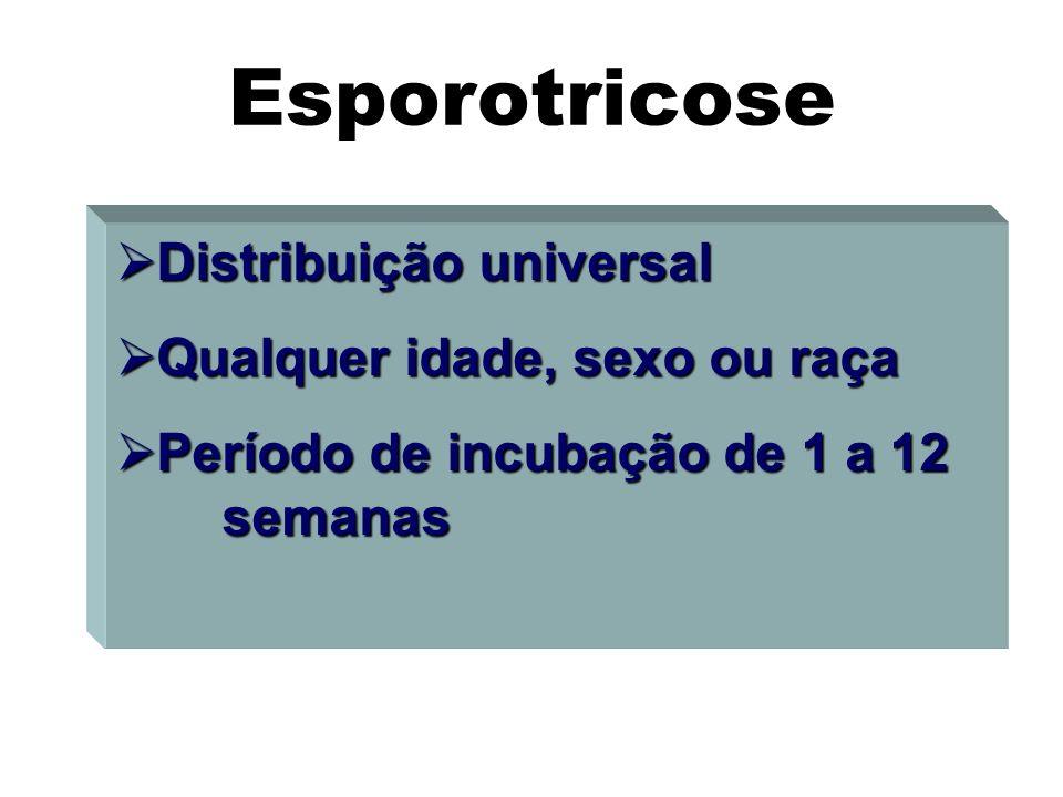Esporotricose Distribuição universal Qualquer idade, sexo ou raça