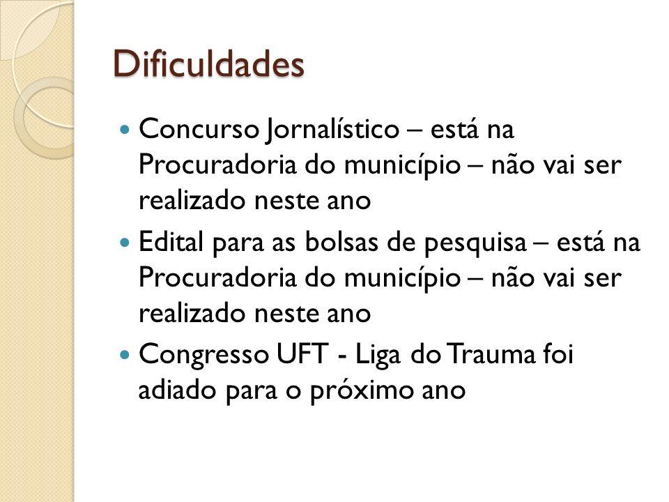 Dificuldades Concurso Jornalístico – está na Procuradoria do município – não vai ser realizado neste ano.