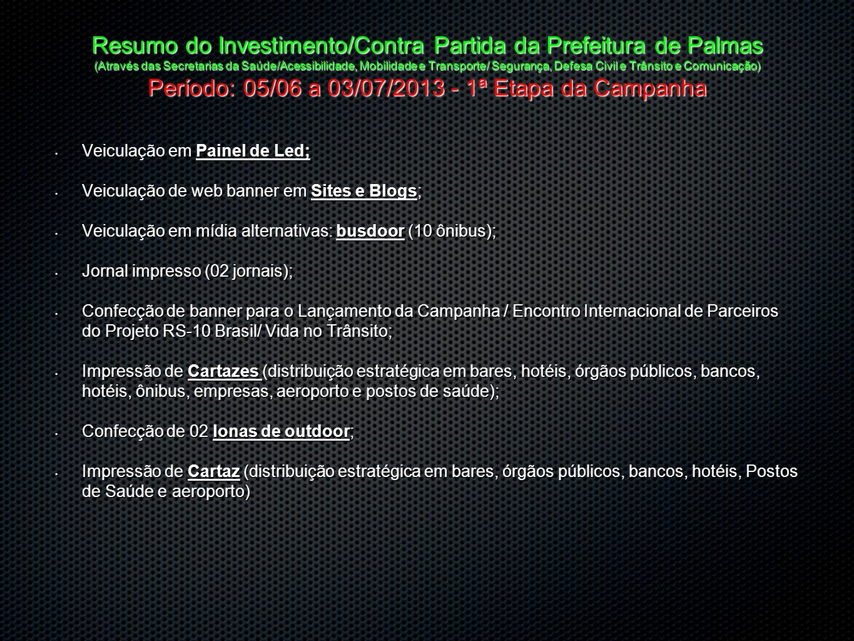 Resumo do Investimento/Contra Partida da Prefeitura de Palmas (Através das Secretarias da Saúde/Acessibilidade, Mobilidade e Transporte/ Segurança, Defesa Civil e Trânsito e Comunicação) Período: 05/06 a 03/07/2013 - 1ª Etapa da Campanha