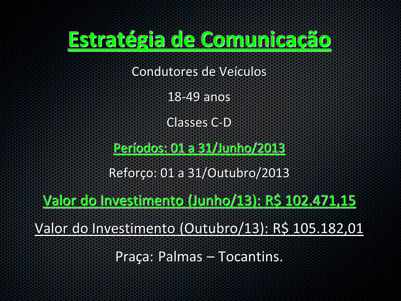 Estratégia de Comunicação Condutores de Veículos 18-49 anos Classes C-D Períodos: 01 a 31/Junho/2013 Reforço: 01 a 31/Outubro/2013 Valor do Investimento (Junho/13): R$ 102.471,15 Valor do Investimento (Outubro/13): R$ 105.182,01 Praça: Palmas – Tocantins.