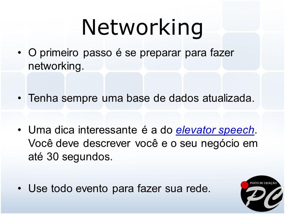 Networking O primeiro passo é se preparar para fazer networking.