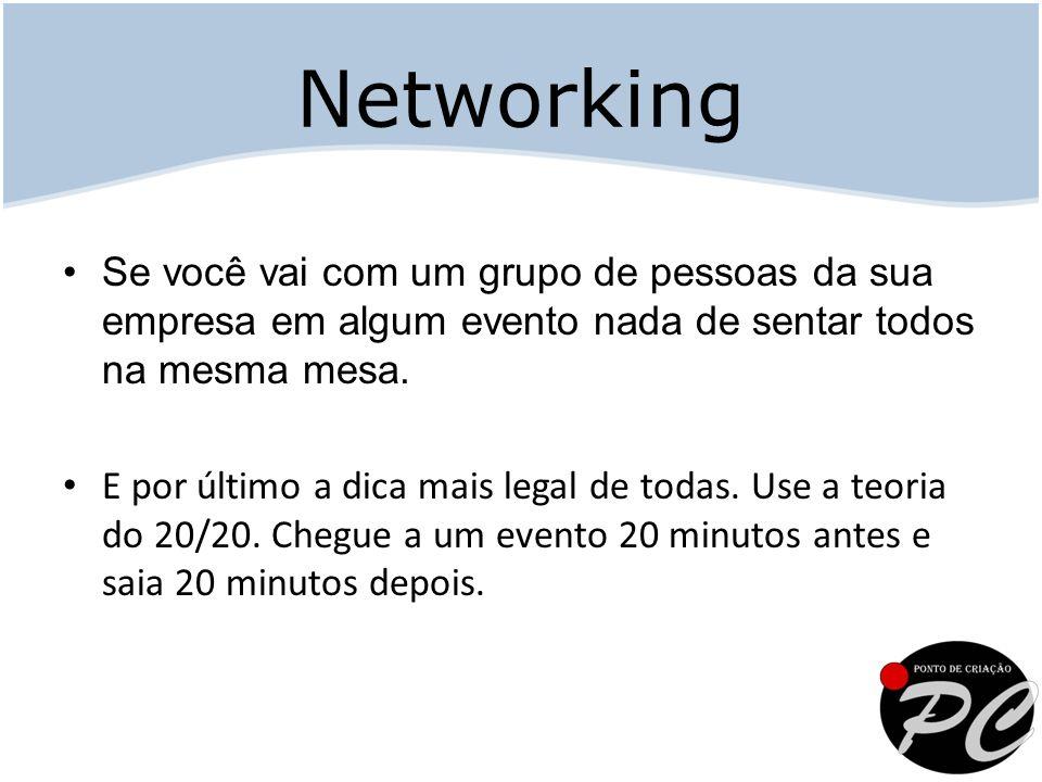 Networking Se você vai com um grupo de pessoas da sua empresa em algum evento nada de sentar todos na mesma mesa.