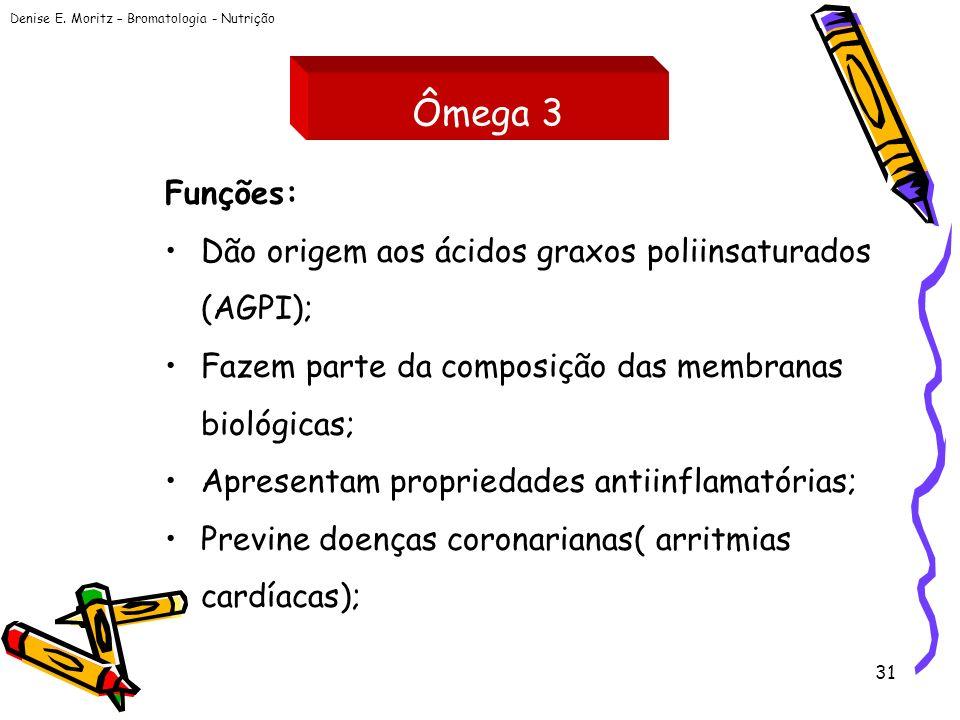 Ômega 3 Funções: Dão origem aos ácidos graxos poliinsaturados (AGPI);