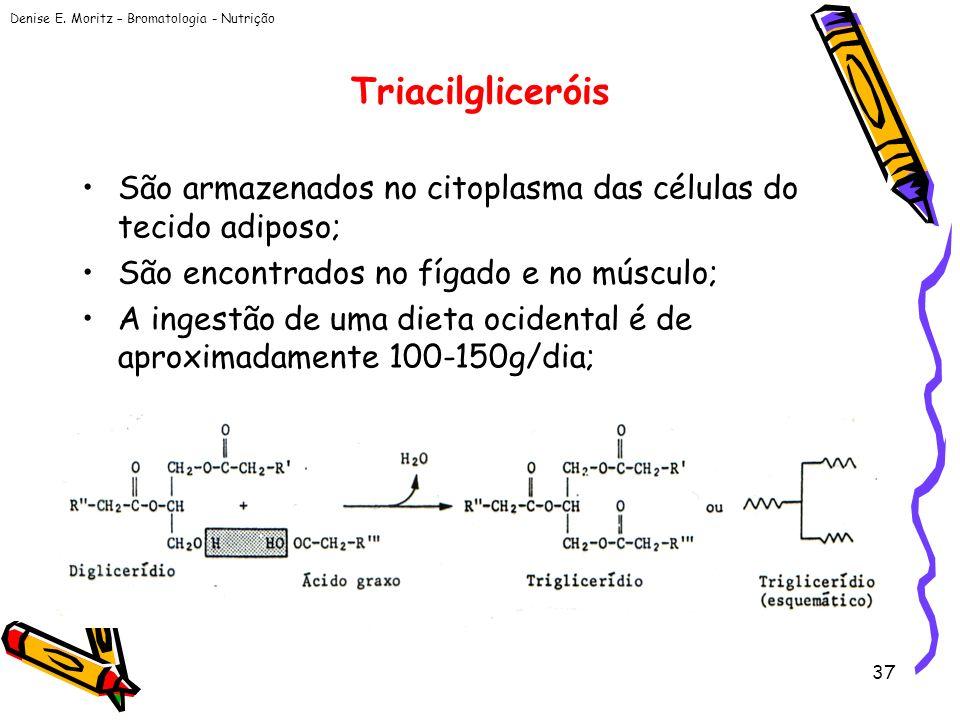 Triacilgliceróis São armazenados no citoplasma das células do tecido adiposo; São encontrados no fígado e no músculo;