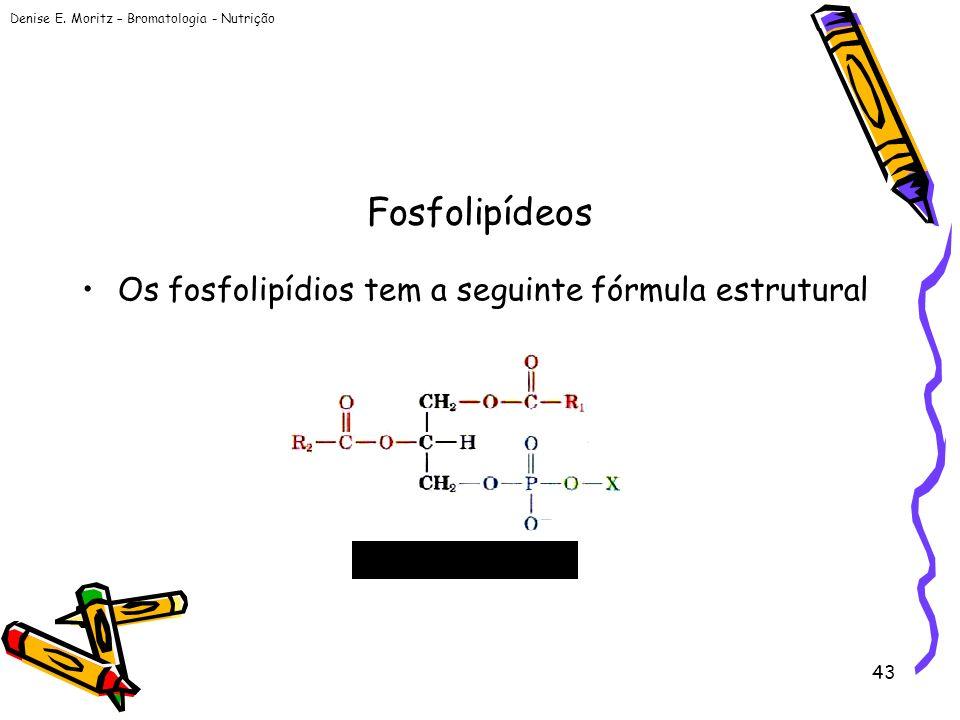 Fosfolipídeos Os fosfolipídios tem a seguinte fórmula estrutural