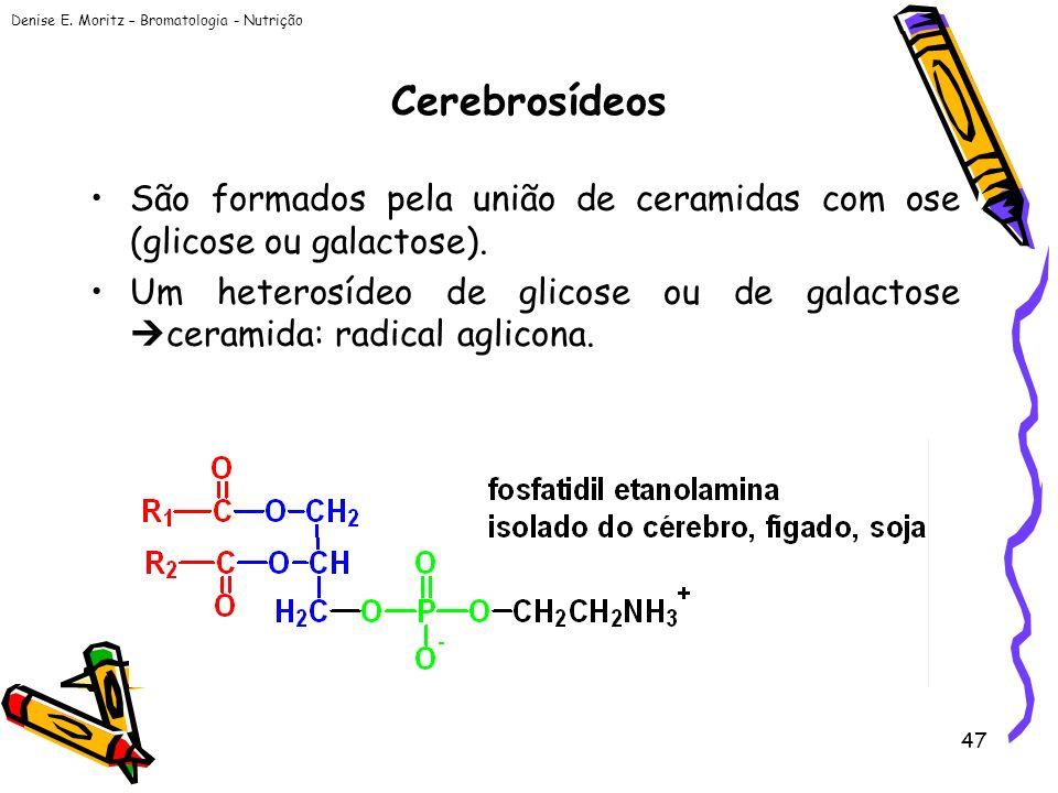 Cerebrosídeos São formados pela união de ceramidas com ose (glicose ou galactose).