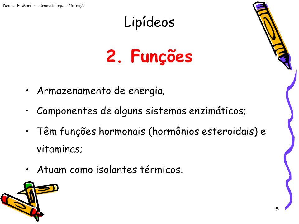 2. Funções Lipídeos Armazenamento de energia;