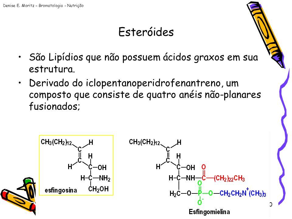 Esteróides São Lipídios que não possuem ácidos graxos em sua estrutura.