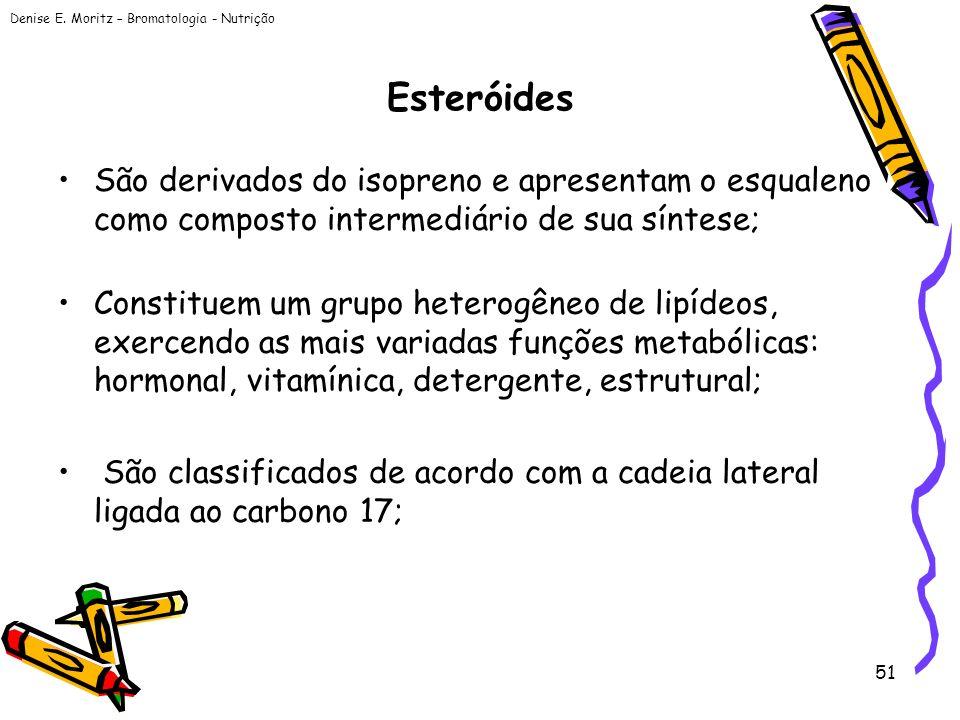 Esteróides São derivados do isopreno e apresentam o esqualeno como composto intermediário de sua síntese;