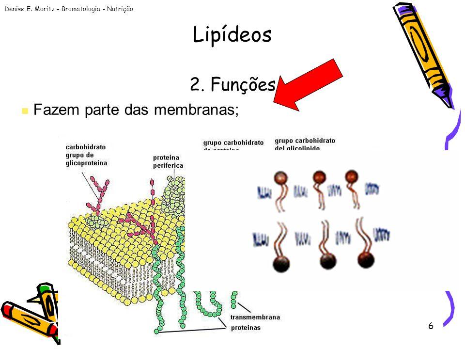 Lipídeos 2. Funções Fazem parte das membranas;