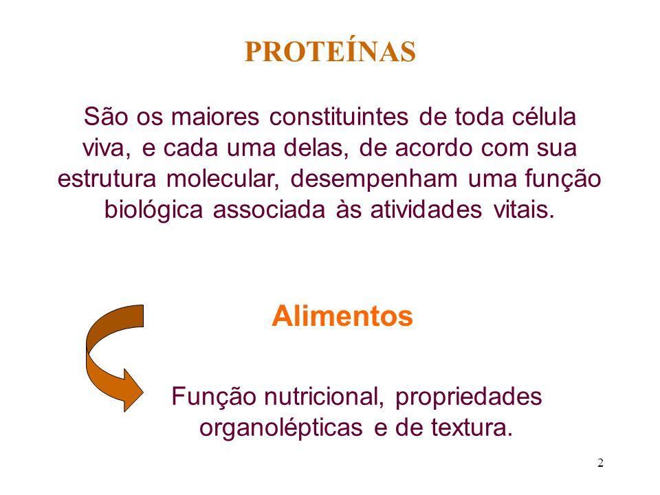 Função nutricional, propriedades organolépticas e de textura.