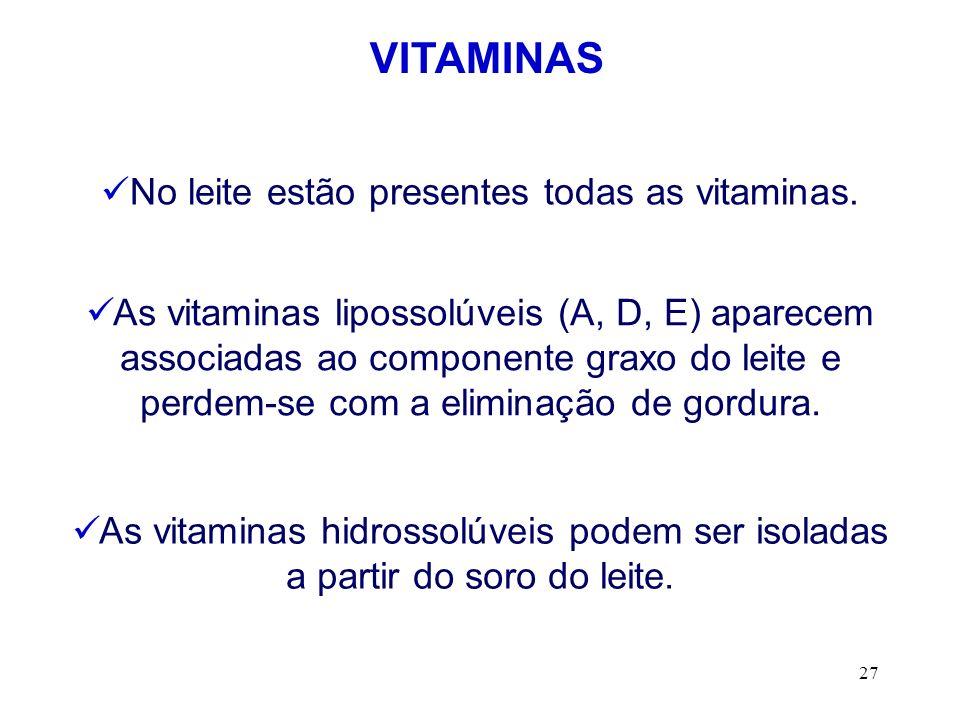 No leite estão presentes todas as vitaminas.
