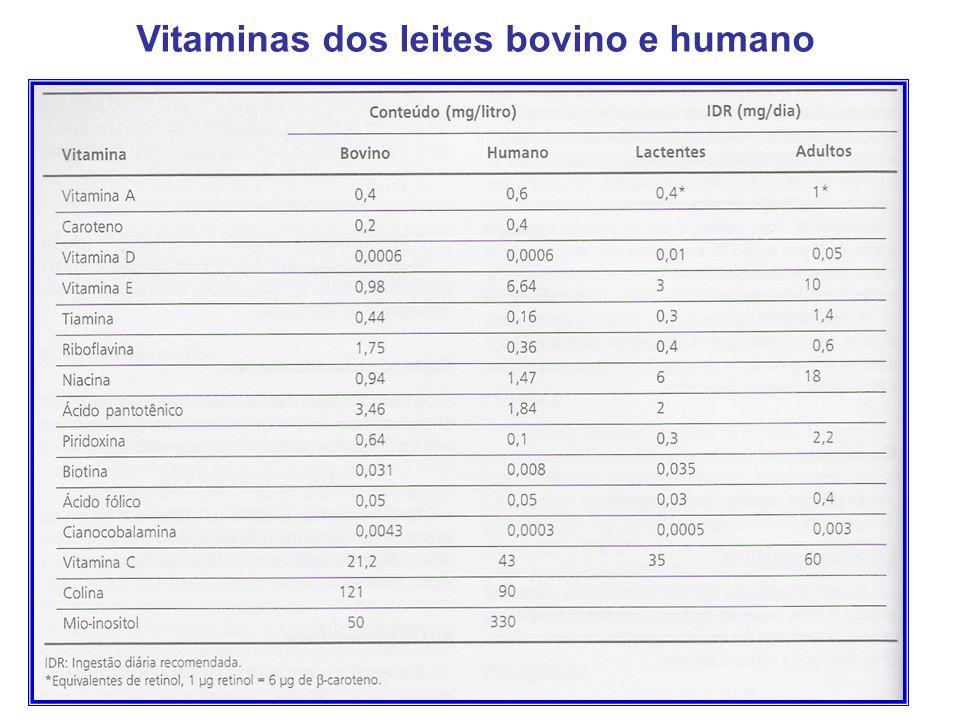 Vitaminas dos leites bovino e humano