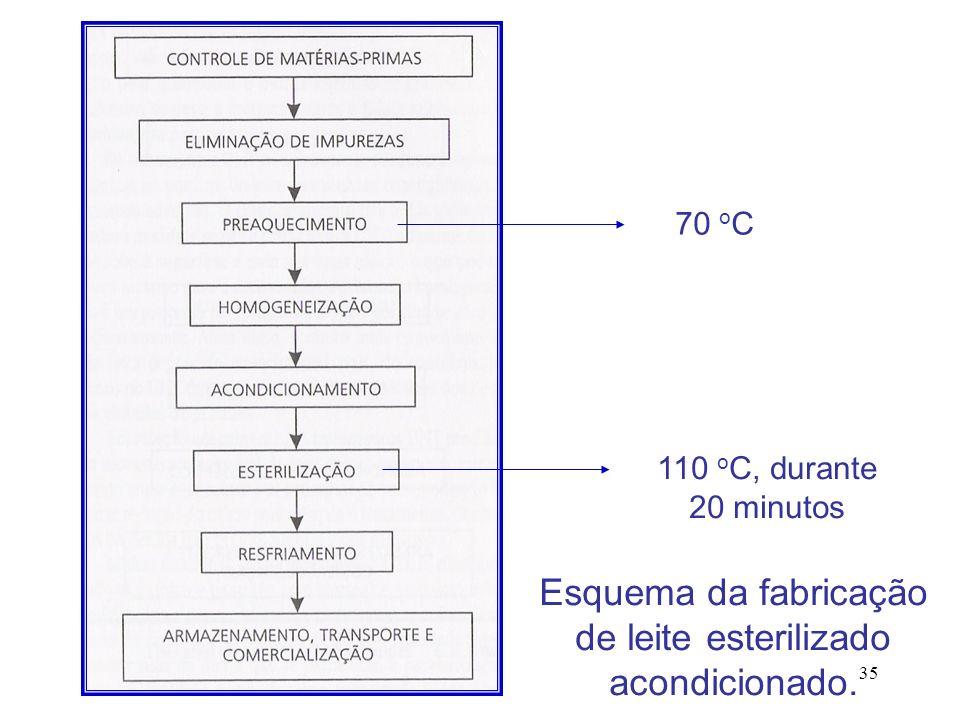 Esquema da fabricação de leite esterilizado acondicionado.