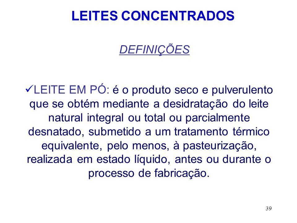LEITES CONCENTRADOS DEFINIÇÕES
