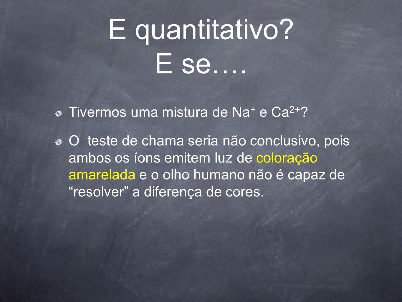 E quantitativo E se…. Tivermos uma mistura de Na+ e Ca2+