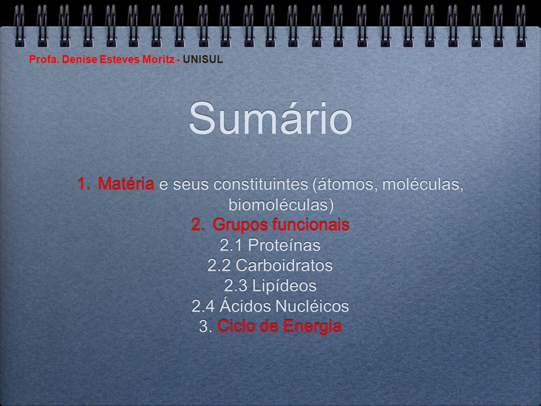 Matéria e seus constituintes (átomos, moléculas, biomoléculas)