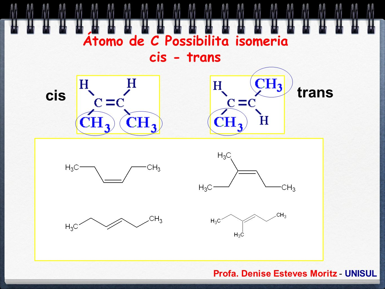 Átomo de C Possibilita isomeria cis - trans