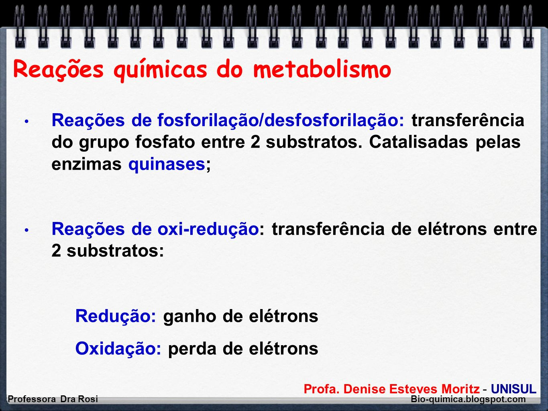 Reações químicas do metabolismo