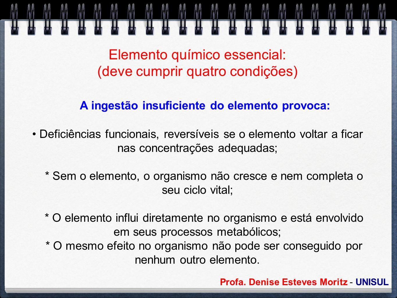 Elemento químico essencial: (deve cumprir quatro condições)