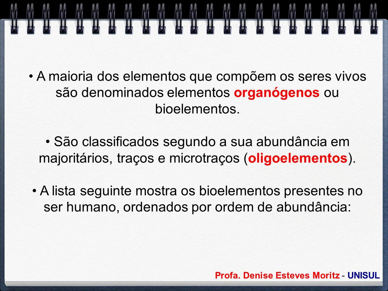 A maioria dos elementos que compõem os seres vivos são denominados elementos organógenos ou bioelementos.