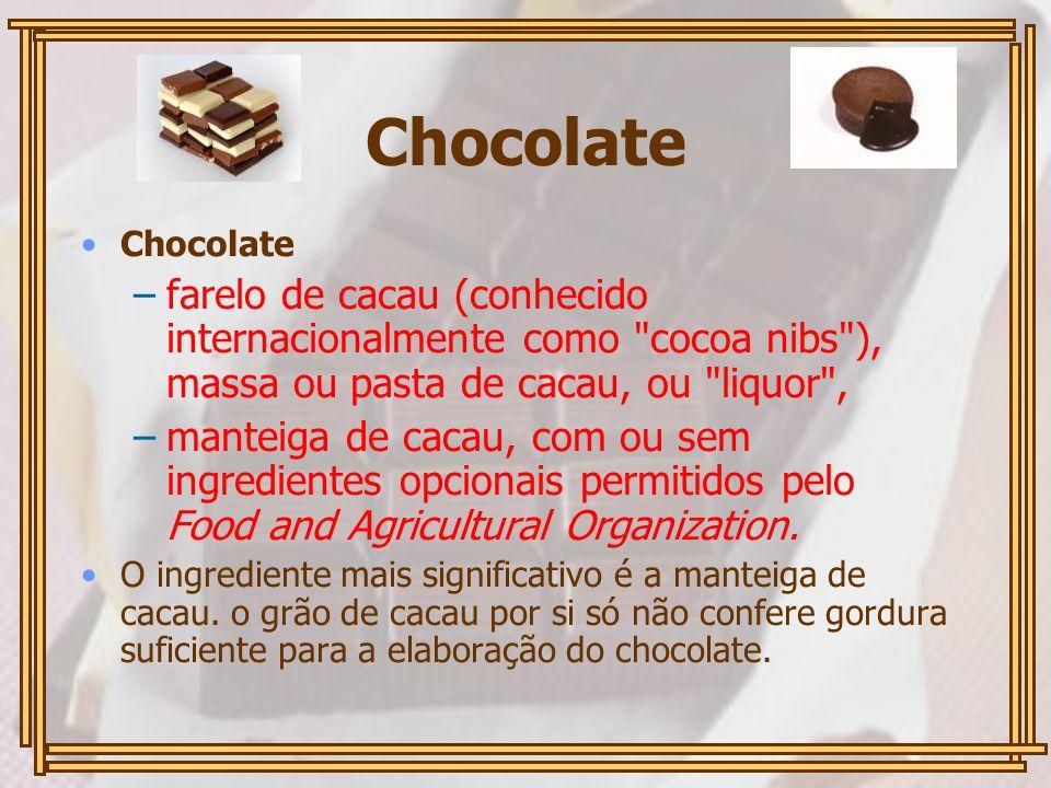 Chocolate Chocolate. farelo de cacau (conhecido internacionalmente como cocoa nibs ), massa ou pasta de cacau, ou liquor ,