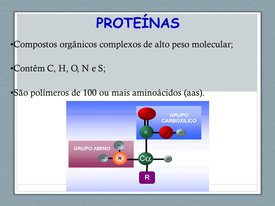 PROTEÍNAS Compostos orgânicos complexos de alto peso molecular;
