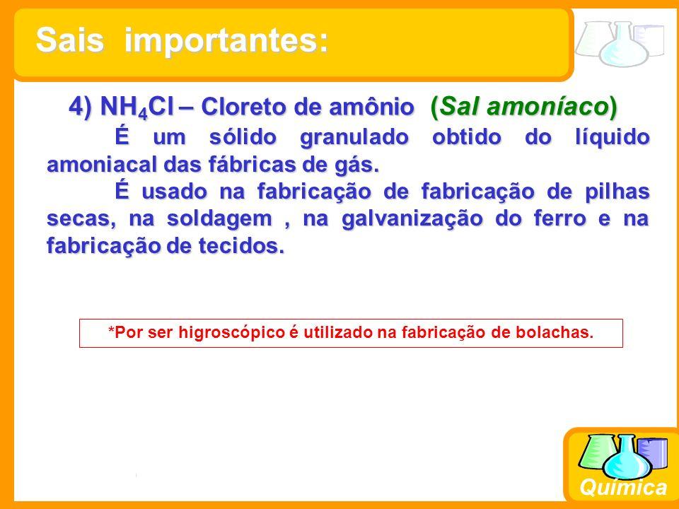 4) NH4Cl – Cloreto de amônio (Sal amoníaco)
