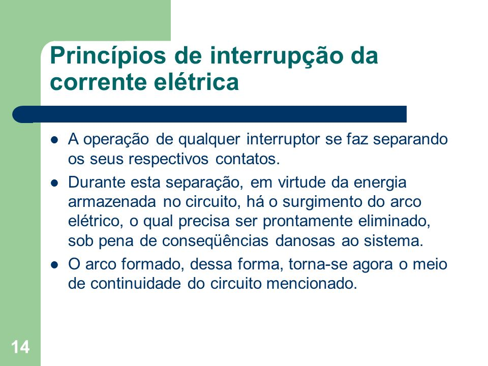 Princípios de interrupção da corrente elétrica