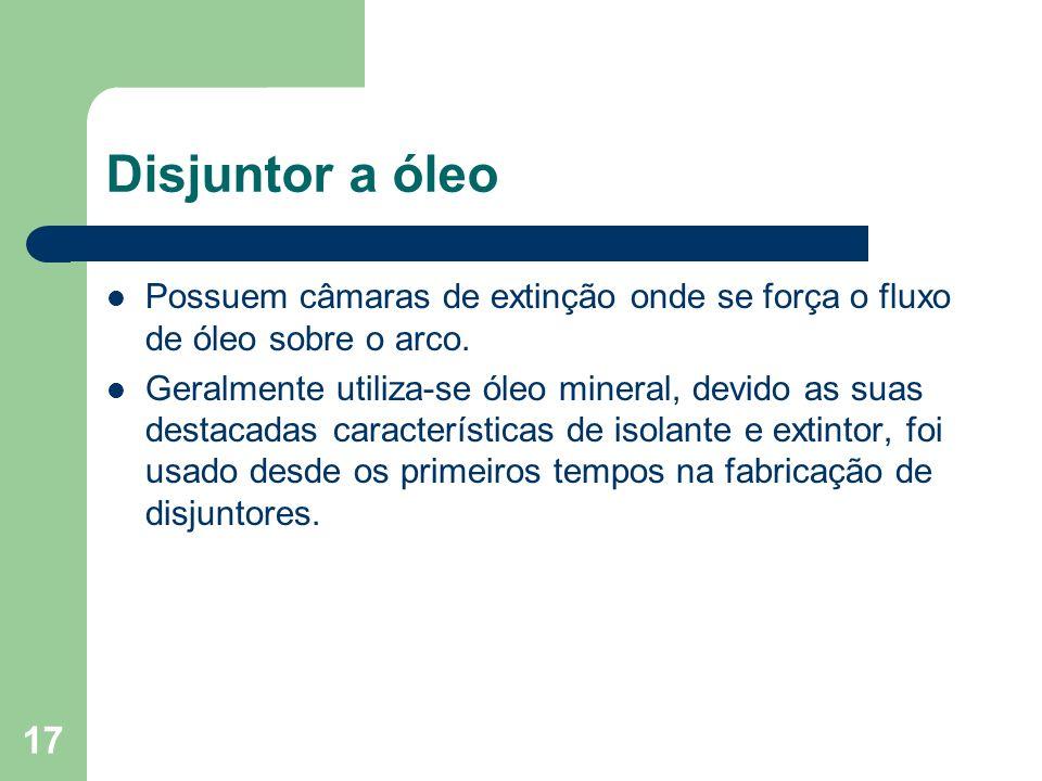 Disjuntor a óleo Possuem câmaras de extinção onde se força o fluxo de óleo sobre o arco.