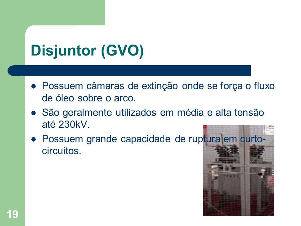 Disjuntor (GVO) Possuem câmaras de extinção onde se força o fluxo de óleo sobre o arco. São geralmente utilizados em média e alta tensão até 230kV.