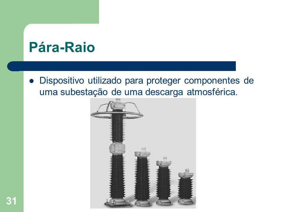 Pára-Raio Dispositivo utilizado para proteger componentes de uma subestação de uma descarga atmosférica.