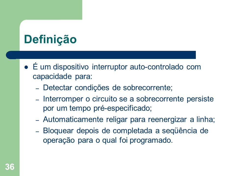 Definição É um dispositivo interruptor auto-controlado com capacidade para: Detectar condições de sobrecorrente;