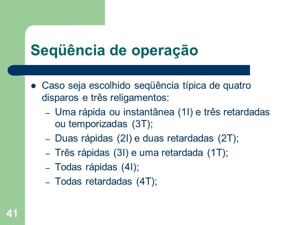 Seqüência de operaçãoCaso seja escolhido seqüência típica de quatro disparos e três religamentos: