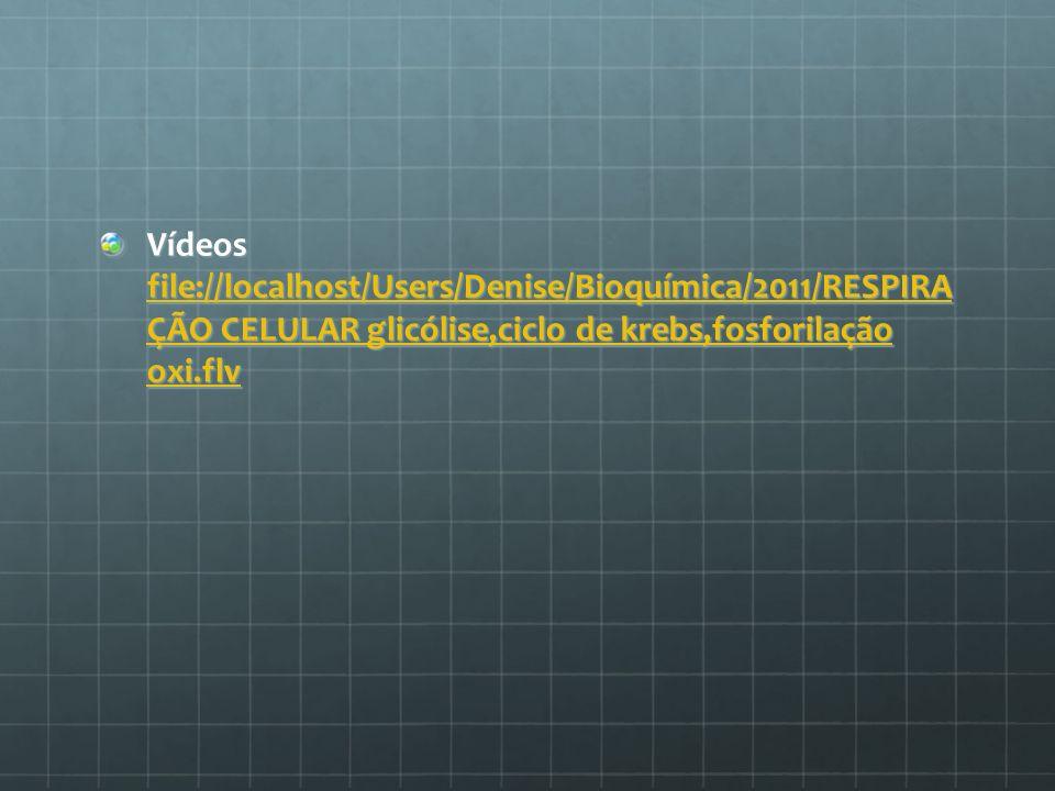 Vídeos file://localhost/Users/Denise/Bioquímica/2011/RESPIRA ÇÃO CELULAR glicólise,ciclo de krebs,fosforilação oxi.flv