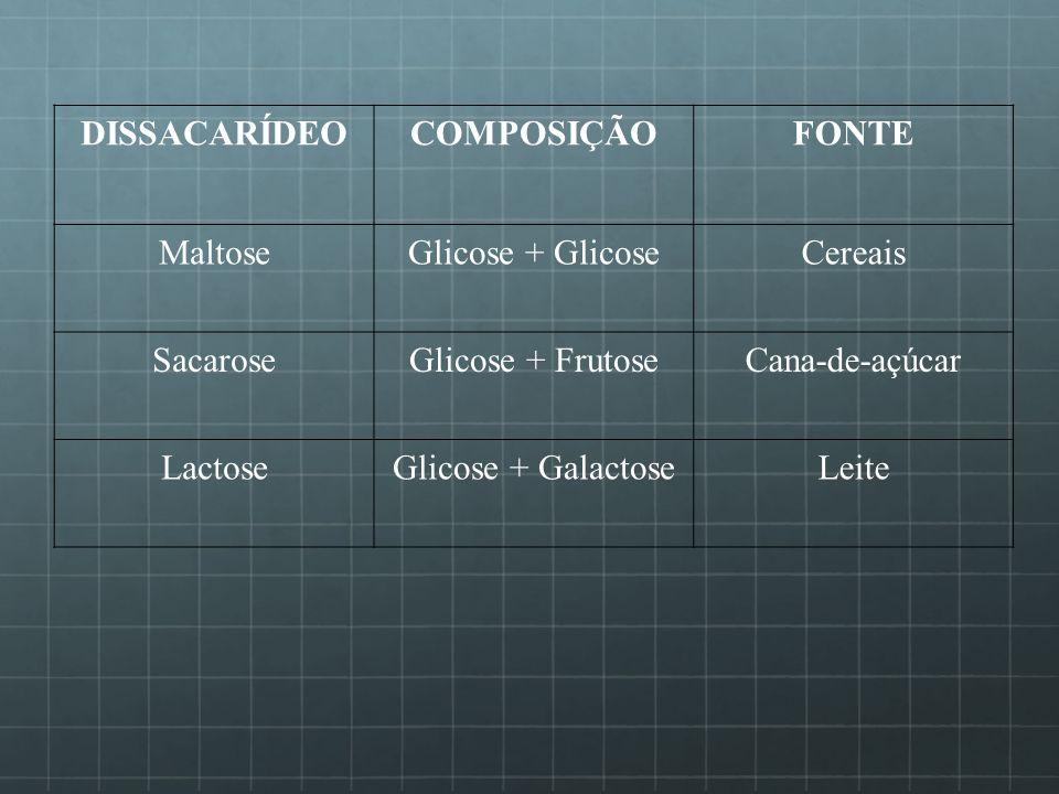 DISSACARÍDEOCOMPOSIÇÃO. FONTE. Maltose. Glicose + Glicose. Cereais. Sacarose. Glicose + Frutose. Cana-de-açúcar.