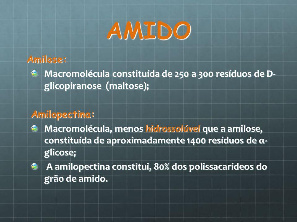 AMIDOAmilose: Macromolécula constituída de 250 a 300 resíduos de D- glicopiranose (maltose); Amilopectina: