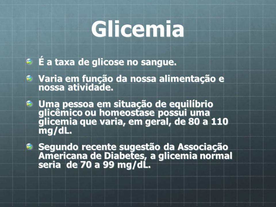 Glicemia É a taxa de glicose no sangue.