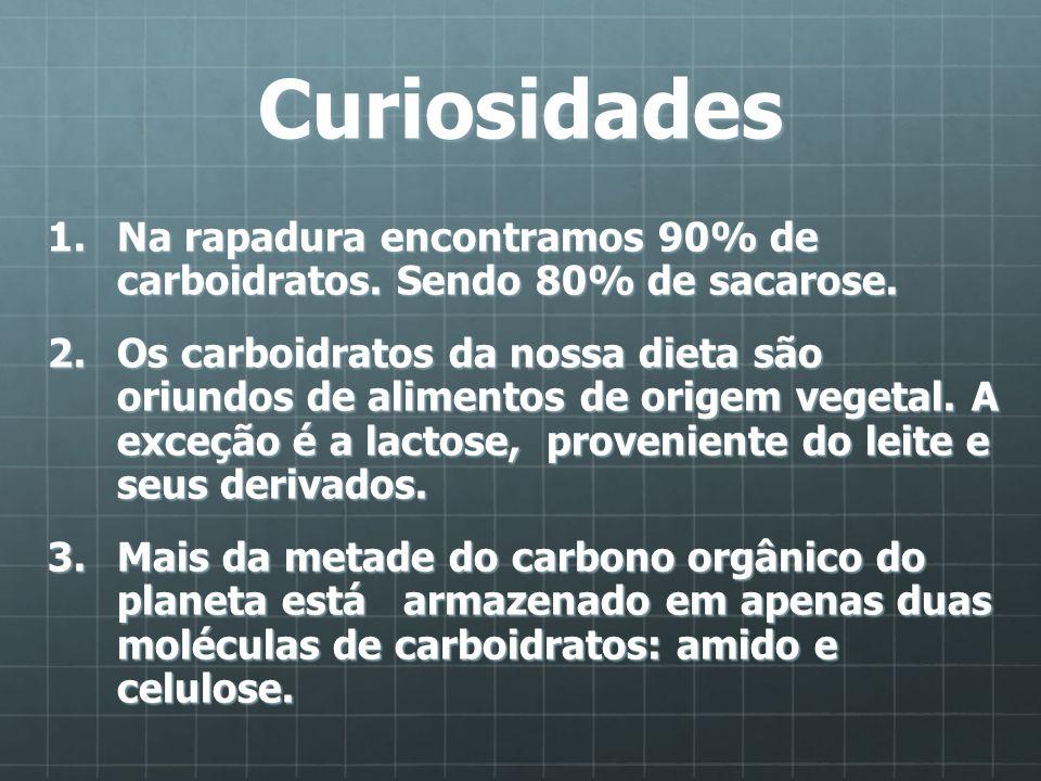 Curiosidades Na rapadura encontramos 90% de carboidratos. Sendo 80% de sacarose.